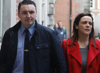 Garda whistleblower Keith Harrison with his partner Marissa Simms arriving at the Disclosures Tribunal in Dublin Castle.