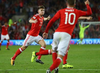 Ben Woodburn celebrates his goal for Wales.