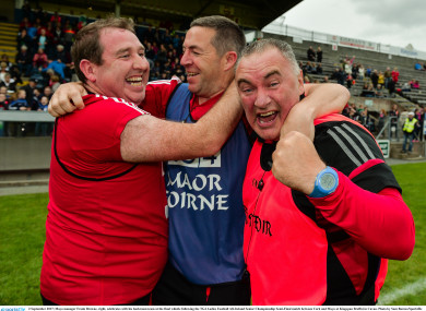 A day to remember: Browne and his team celebrate a huge victory over Cork.