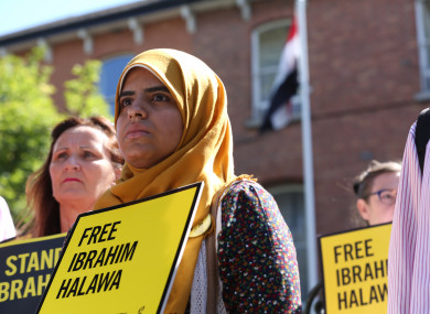 Fatima Halawa joined protesters from Amnesty International, USI and Unite Against Racism outside the Egyptian Embassy earlier this year.
