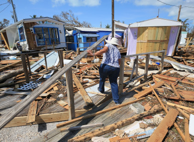 Destroyed homes at the Seabreeze trailer park along the Overseas Highway in the Florida Keys.