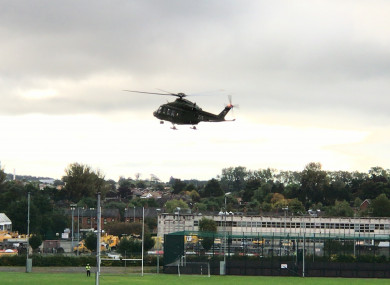 The air ambulance at Dundalk Gaels Football Club.