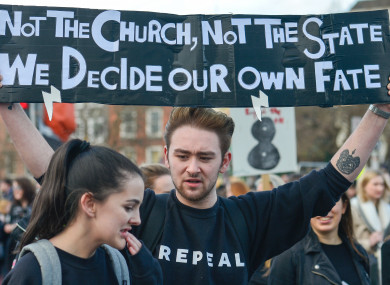 Protesters during a Strike 4 Repeal campaign march held today in Dublin.