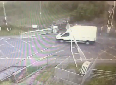 The moment the van drives through the crossing.