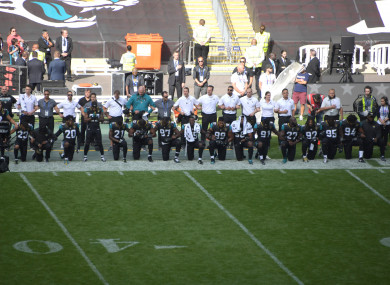 The Jags were the first of many teams to protest during the US national anthem last week.