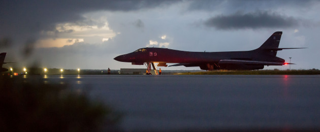 A long-range US Air Force Rockwell B-1 bomber at the Andersen air base in Guam yesterday
