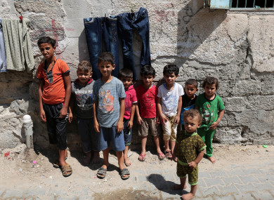 Palestinian children playing in the street, at Rafah refugee camp in the southern Gaza Strip.