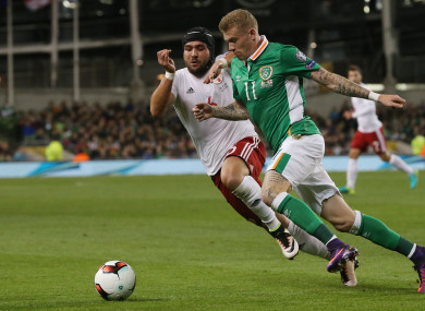 Republic of Ireland's James McClean (right) and Georgia's Murtaz Daushvili pictured the last time the sides met.