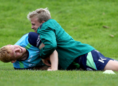 Deegan pins Rory Scholes in training.