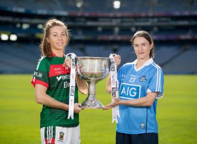 Head-to-head: Mayo's Sarah Tierney and Dublin's Sinéad Aherne.