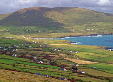 Beautiful countryside vista seen from the Skellig Loop travel route on the Iveragh Peninsula in Co Kerry.
