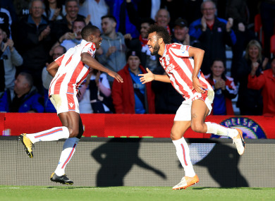 Stoke City's Eric Maxim Choupo-Moting celebrates scoring his side's first goal of the game.