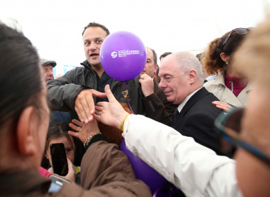 Leo shakes hands with people at the National Ploughing Championships.