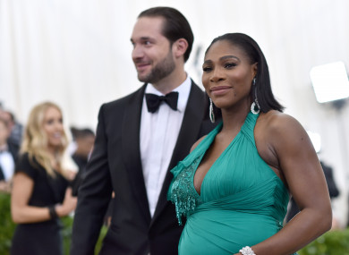 Serena Williams with her fiancé Alexis Ohanian at the Met Gala 2017.