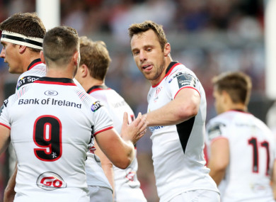 Tommy Bowe celebrates his try at Ravenhill tonight.