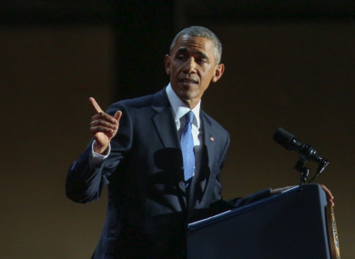 file photo of Barack Obama delivering his farewell address in January.