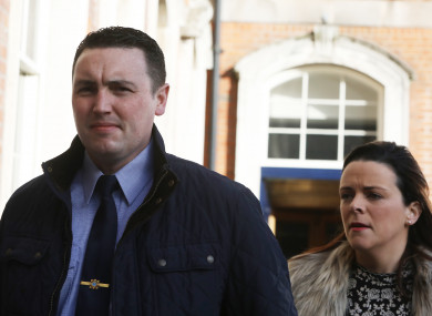 Garda Keith Harrison with his partner Marisa Simms arriving at the Disclosures Tribunal in Dublin Castle.