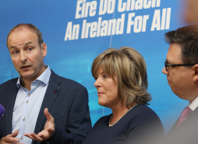 Party Leader Micheal Martin, Mary Butler TD and Cllr Paul McAuliffe speaking to the media.