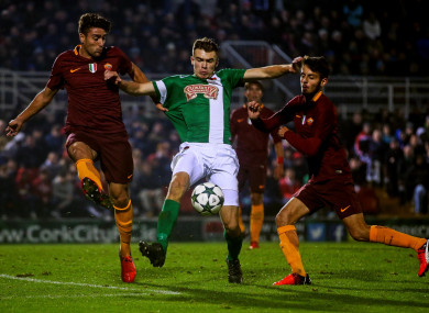 Aaron Drinan playing for Cork City against Roma in the Uefa Youth League.