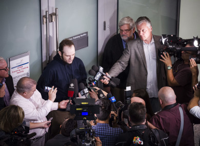 Joshua Boyle speaks to the media at Toronto Pearson Airport.