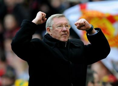 Alex Ferguson celebrates at Anfield