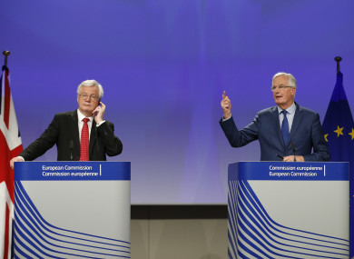The UK's Brexit Secretary David Davis (L) and European Union (EU) chief negotiator Michel Barnier (R) attend a press conference at the end of the fifth round of negotiations on Brexit talks at the EU Commission in Brussels, Belgium.