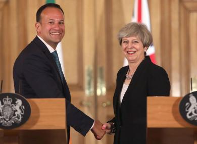 UK Prime Minister Theresa May with Taoiseach Leo Varadkar.