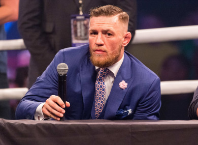 Conor McGregor speaking in London in July.