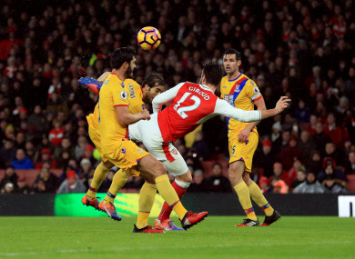 Olivier Giroud scores with a scorpion kick as Arsenal beat Crystal Palace 2-0.