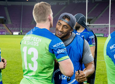 "Eoin Griffin and Bundee Aki celebrate: ""We fancy our chances with anybody."