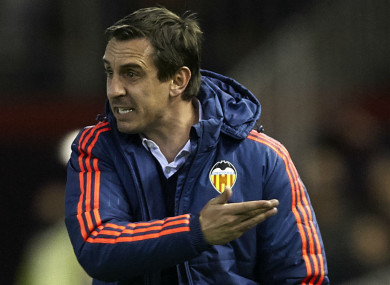 Gary Neville during his ill-fated spell at Valencia.