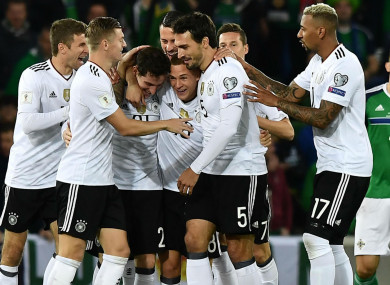 Germany celebrate scoring against Northen Ireland