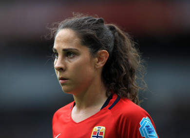 Ingrid Moe Wold in action for Norway at Euro 2017.