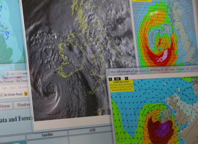 Weather charts at 11am on Monday track ex-Hurricane Ophelia at the National Emergency Coordination Centre in Dublin.