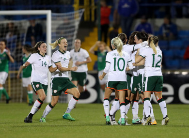 Ireland's senior team celebrating a goal in the recent win over Northern Ireland.