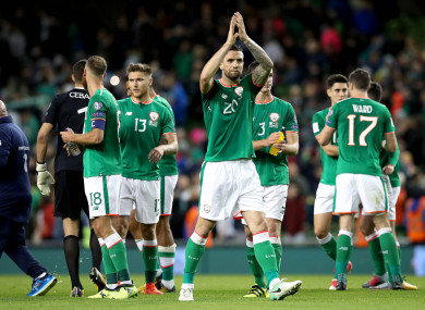 Ireland's Shane Duffy celebrates last night's win over Moldova.
