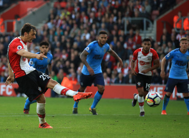 Manolo Gabbiadini scores a penalty against Newcastle.