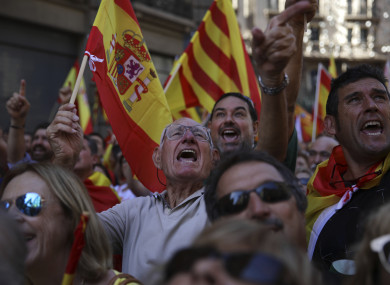 Supporters of Spanish unity at a rally in Barcelona today