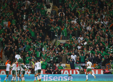 James McClean celebrates scoring against Wales earlier this month.