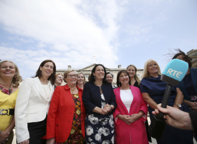 File photo of the Oireachtas Women's Caucus Group gathering for a photo on the Plinth of Leinster House this afternoon.