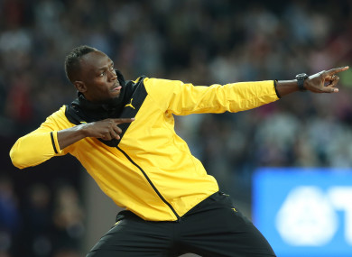 Bolt: giving Australia a few pointers.