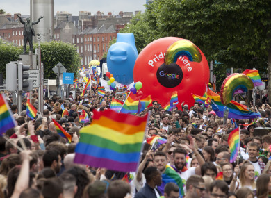Gay pride parade in Dublin last year.