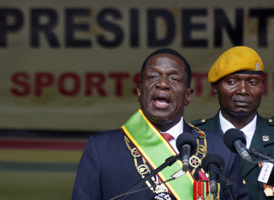 Zimbabwe's President Emmerson Mnangagwa speaks after being sworn in at the presidential inauguration ceremony