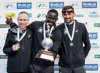 O'Hanlon, Sittuk and Sergiu Ciobanu after the Dublin City Marathon on Sunday.