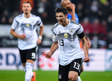 Lars Stindl celebrates scoring for Germany.