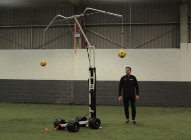 The Headrite training aid has been developed to improve heading skills without the impact of a real football.