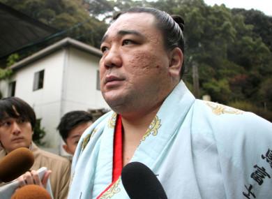 Mongolian sumo grand champion Harumafuji speaks to journalists today.