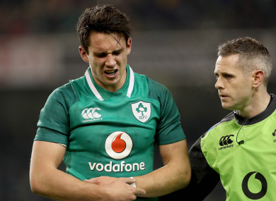 Carbery appeared to be in some discomfort when leaving the field.