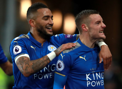 Leicester goalscorer Vardy (right) celebrates with Danny Simpson.