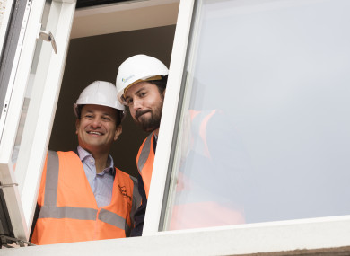 Leo Varadkar and Housing Minister Eoghan Murphy looking out the window of a new development in Dublin earlier this week.